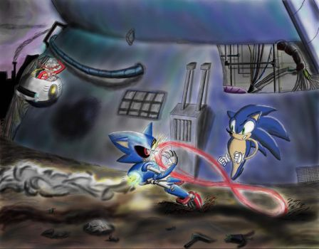 Sonic vs. Metal Sonic in Robotropolis by RJRobledo