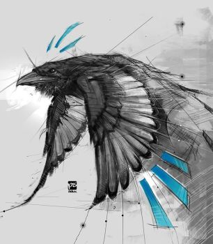 20170916 Crow Sketch Psdelux by psdeluxe