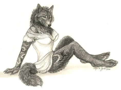 Werewolf Femme Pinup by Foxfeather248