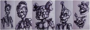 FNAF SL sketches by MegiW