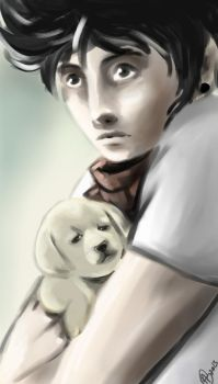 Hipster Holding A Puppy by Myfemalegaze