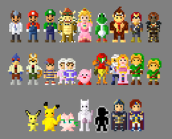Super Smash Bros Melee Characters 8 Bit by LustriousCharming