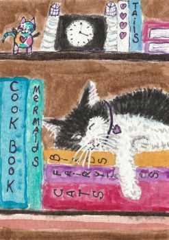 Sleeping black and white cat  aceo watercolor by tulipteardrops