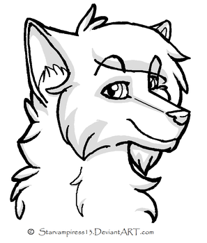 Free Cartoon Wolf Lineart by StarVampiress13