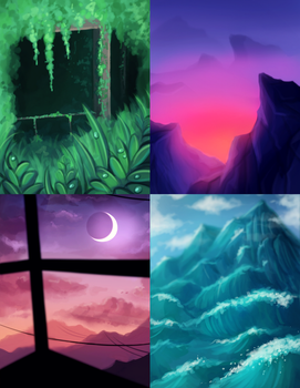 Scenery Doodles by CosmosKitty