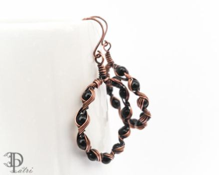 Wire Wrapped Hoop Earrings with Onyx Beads by DesignByPatri
