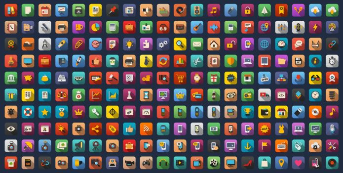 Universal Colorful Flat Icons Bundle by Alexgorilla