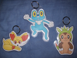 Fennekin, Froakie and Chespin keychains
