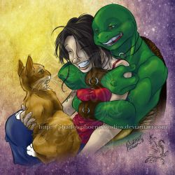 TMNT: Laughing Mike and Oyuki by ShadowPhoenixStudios