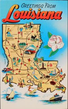 Mid-Century Map Postcard - Louisiana by Yesterdays-Paper