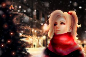 Christmas Angels (Mercy Fanart) by xCheetah
