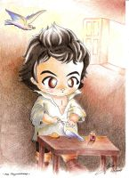 Chibi Beethoven with two birds by Stael