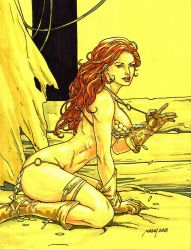 RED SONJA in yellow board by Noora July 05 2018 by rodelsm21