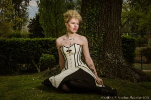White overbust corset dress 2011 collection by Esaikha