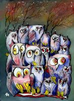 Winter Owls - reverse glass painting by Loki-Liesmith