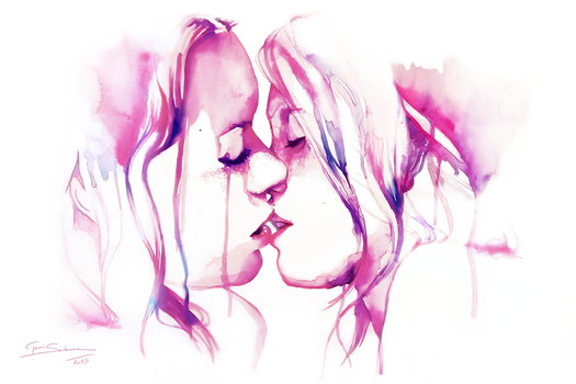 The Kiss - Traditional Watercolorpainting 2015 by Lillilolita