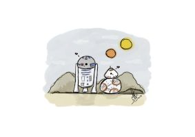 R2D2 and BB-8 by gisilvestrini