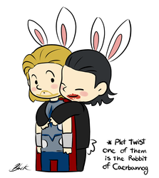 Bunny!Thor and Bunny!Loki by caycowa