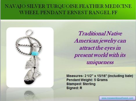 Navajo Silver Turquoise Feather Medicine Wheel Pen by mesaverde1