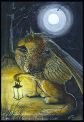Gryphon Tarot - The Hermit by silvermoonnw