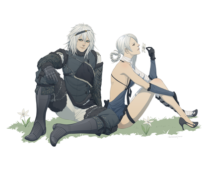 Nier and Kaine by doubleleaf