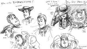 Buzz and Woody sketch dump 06 by JereduLevenin