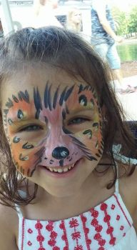 cheetah face paint by funfacesballoon