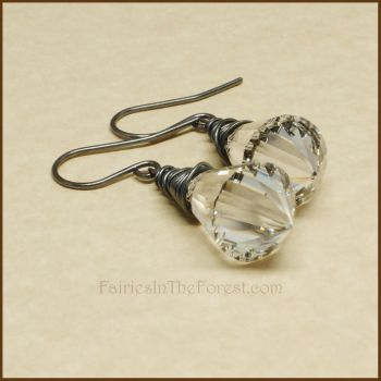 Sterling Silver and Crystal Prism Earrings by Gailavira