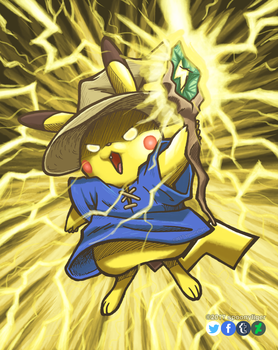 Black Mage Pikachu by spoonyliger
