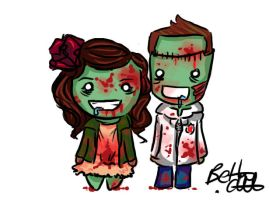 Zombie Couple by bethwhowishes