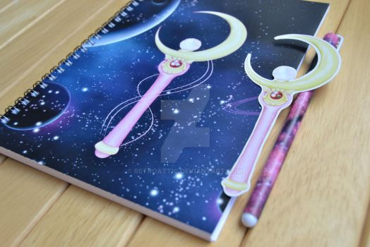 Sailor Moon notebook bookmark and a pen by RetroAttic