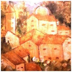 Old Tuscany painting acrylics on paper ready to ha by Buffy2008