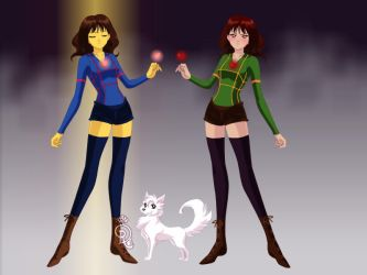 Female Chara and Frisk by peridive78