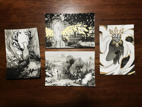 Inktober 4+5+6+7 by witherlings