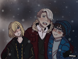 Yuri, Yurio and Viktor on snow by midoryn