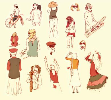 Canada Day/ Jazz Festival sketches by marlenakate