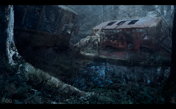 Project FOG - Abandoned Busses - Nighttime by AranniHK