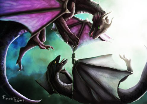Learning to Fly. Dragons digital painting by RonnieTheZombie