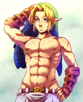 A day without shirt by Queen-Zelda