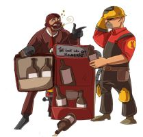 Spy and engi and beerspenser by Konnestra