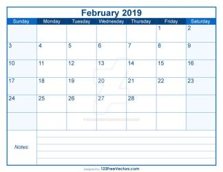 Blank Printable February Calendar 2019 Free Vector by 123freevectors