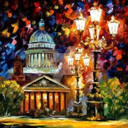Twinkling Of The Night St. Petersburg by Afremov by Leonidafremov