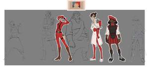 TF2 Girls Line Up ROUGH by Mr-Greeley