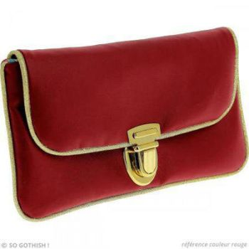 Red and golden fake leather pouch by Zengia