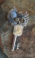 Clockwork Owl Fantasy Key by ArtByStarlaMoore