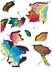 Watercolor leaves by MercyPlain