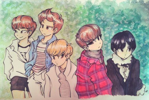 SHINee Season Greeting 2015 by Pulimcartoon