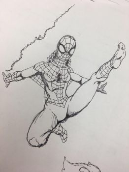 Pen and ink Spidergirl by TheMoore