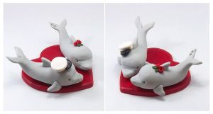 Dolphins Wedding Cake Topper (Marine Theme) by HeartshapedCreations