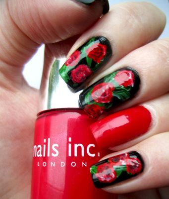 Red Roses Valentines Manicure by soyoubeauty